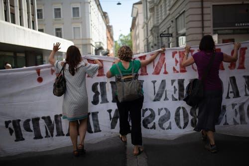 Frauenstreik in St.Gallen. (Bild: Benjamin Manser)