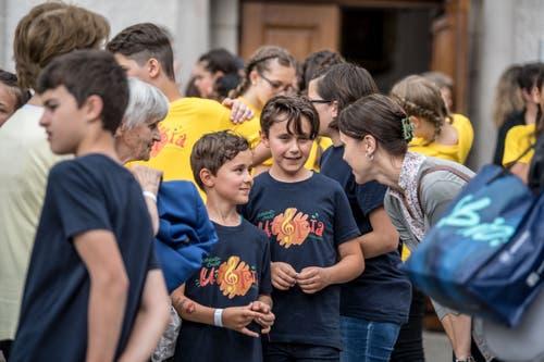 Freude nach dem gelungenen Auftritt. (Bild: Nadia Schärli/Luzerner Zeitung, Hitzkirch, 15. Juni 2019)