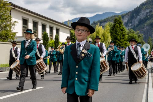 Die Musikgesellschaft Giswil bei der Parademusik. (Bild: Philipp Schmidli, Hergiswil, 15. Juni 2019)