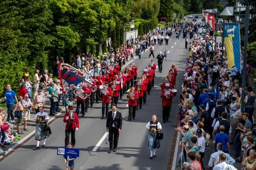 Die Feldmusik Unterägeri bei der Parademusik. (Bild: Philipp Schmidli, Hergiswil, 15. Juni 2019)