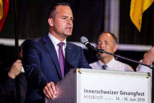 Ständerat Damian Müller am Schlussakt des Festes. (Bild: Philipp Schmidli, Hitzkirch, 16. Juni 2019)