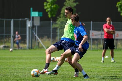 Remo Arnold (links) und Marco Burch. (Bild: Martin Meienberger / Freshfocus, Luzern, 17. Juni 2019)