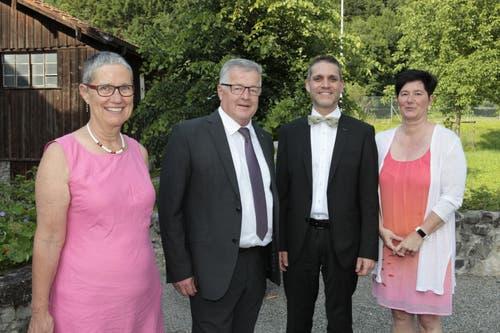 Die neue Ratsleitung: (von links) Sylvia Läubli, Ruedi Zgraggen, Pascal Blöchlinger und Cornelia Gamma. (Bild: Florian Arnold, 19. Juni 2019)