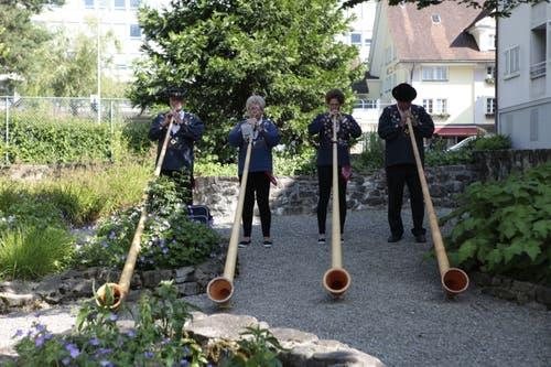 Das Alphornquartett «Tyyfelstei» umrahmte die Wahlfeier. (Bild: Florian Arnold, 19. Juni 2019)