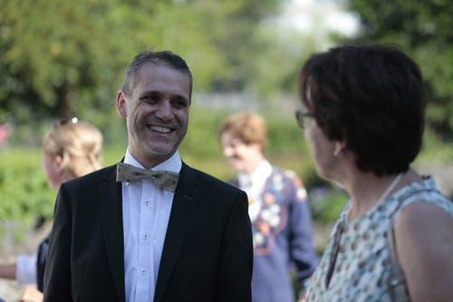Der neue Landratspräsident im Gespräch mit Gesundheitsdirektorin Barbara Bär. (Bild: Florian Arnold, 19. Juni 2019)