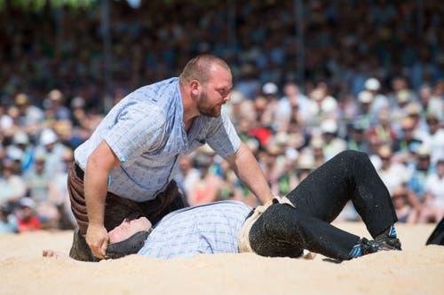 Sven Schurtenberger gewinnt den 5. Gang. Es ist sein Ticket für den Schlussgang. (Bild: Eveline Beerkircher, Willisau, 2. Juni 2019)