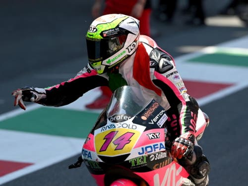 In der Moto3-Klasse gewann mit Tony Arbolino ebenfalls ein Italiener (Bild: KEYSTONE/EPA ANSA/CLAUDIO GIOVANNINI)