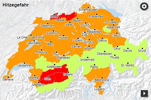 Die aktuelle Naturgefahrensituation in der Schweiz (Bild: Bundesamt für Umwelt)