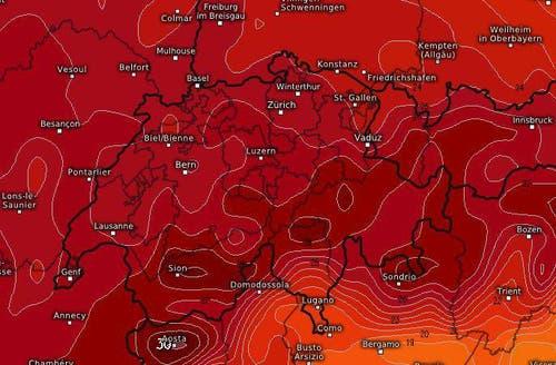 Ein Temperaturbild zeigt die bevorstehende Hitzewelle. (Bild: kachelmannwetter.com)