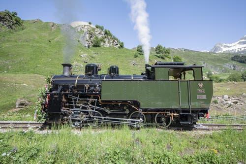 Die aus der Schweizerischen Lokomotiv- und Maschinenfabrik Winterthur SLM stammende Lokomotive wurde 1923 nach Indochina geliefert. (Bild: Urs Flüeler / Keystone, 25. Juni 2019)