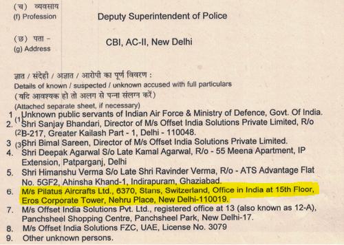 In der Anzeigeschrift unter den Verdächtigen aufgelistet: die Stanser Pilatus Flugzeugwerke, hier auch mit der Adresse des Büros in Neu-Delhi. (Bild: Screenshot Central Bureau of Investigation)