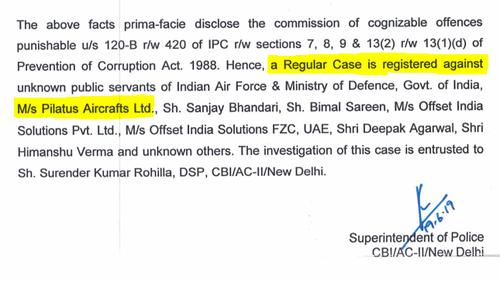 «Daher wird eine reguläre Ermittlung eröffnet»: Die indische Bundespolizei ermittelt nun auch gegen Pilatus. (Bild: Screenshot Central Bureau of Investigation)