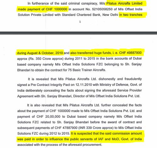 Mehrere Zahlungen sollen von Pilatus an die Firmen des Mittelsmannes Sanjay Bhandari geflossen sein, um Beamte der indischen Air Force und des Verteidigungsministeriums zu bestechen. Neu wird der Betrag von knapp 50 Millionen Franken genannt. (Bild: Screenshot Central Bureau of Investigation)