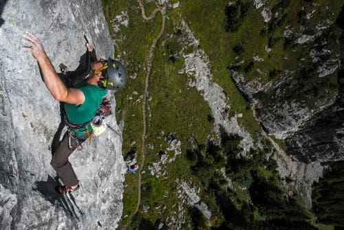 Nichts für Personen mit Höhenangst: Klettern im Alpstein. (Bilder: Andreas Butz)