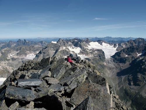 Auf dem 3410 Meter hohen Piz Linard fand man 1835 eine einzige Pflanzenart vor, heute sind es 16 Arten. (Bild: Hansueli Rhyner/SLF)