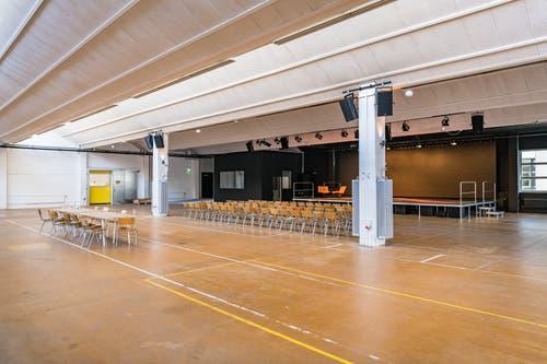 Auch eine Eventhalle kann gemietet werden. (Bild: Christian H. Hildebrand, Zug, 28. Juni 2019)