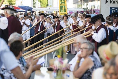Alphornbläser bei einem Auftritt (Bild: Urs Flüeler / Keystone, Horw, 29. Juni 2019)