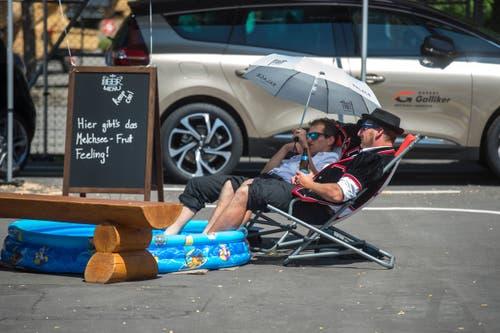 Sie kühlen sich bei dieser Hitze ab. (Bild: Dominik Wunderli, Horw, 29. Juni 2019)