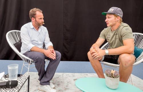 Christian Graf im Talk mit Marco Odermatt. (Bild: André A. Niederberger, 2. Juni 2019)