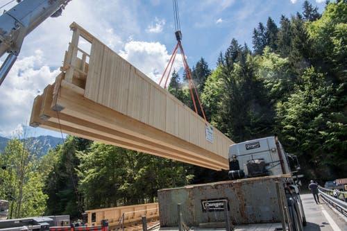Diese Holzkonstruktion ist 23 Tonnen schwer. (Bild: Nadia Schärli, 3. Juni 2019)