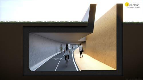 An einer anderen Stelle im Tunnel könnte ein Lichtschacht Tageslicht unter die Erde bringen. (Illustration: Heliobus AG/PD)