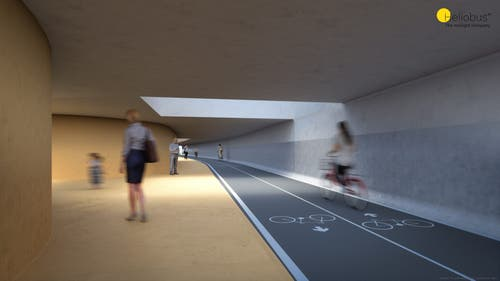 Durch den Einfall von Tageslicht soll der breite Tunnel für Fussgänger und Velofahrer freundlicher wirken als eine konventionelle Unterführung. (Bild: Heliobus AG/PD)