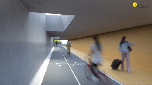Wird die Unterführung zwischen Reithalle und Lokremise realisiert, könnten Fussgänger und Velofahrer die St.-Leonhard-Strasse an dieser Stelle hindernisfrei unterqueren. Das würde auch den Motorfahrzeugverkehr an der Oberfläche entlasten. (Illustration: Heliobus AG/PD)