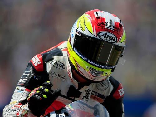 Auch der zweite Schweizer hatte in Assen Grund zur Freude: Dominique Aegerter fuhr als Neunter erstmals in dieser Saison in die Top Ten (Bild: KEYSTONE/AP/PETER DEJONG)