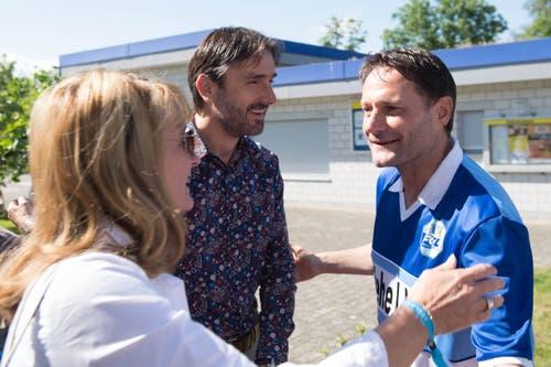 Stefan Marini (rechts) sieht fast noch so jung und frisch aus wie damals beim Meistertitel 1989. Heute ist der frühere Verteidiger Trainer der Schweizer U17-Nationalmannschaft. (Bild: Eveline Beerkircher-Bachmann (Sempach, 8. Juni 2019))
