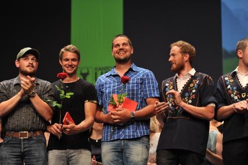 Freude bei den Landwirten; von links: Stefan Zumbühl, Martin Bless, Bruno Hurschler und Michael Herger. (Bild: Urs Hanhart, Altdorf, 1. Juli 2019)