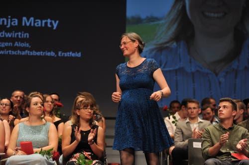 Landwirtin Tanja Marty erreichte Traumnote 5,8. (Bild: Urs Hanhart, Altdorf, 1. Juli 2019)