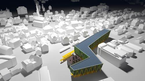 So würde sich das neue Gebäude ins Ortsbild beim Bahnhofsareal integrieren. (Visualisierung: PD)