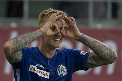 Luzerns Marvin Schulz jubelt nach dem zweiten Luzerner Tor. (Bild: KEYSTONE/Georgios Kefalas, St. Gallen, 20. Juli 2019)