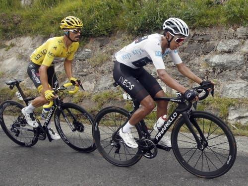 Zu diesem Zeitpunkt vermochte Julian Alaphilippe (links) dem Kolumbianer Egan Bernal noch zu folgen (Bild: KEYSTONE/EPA/YOAN VALAT)