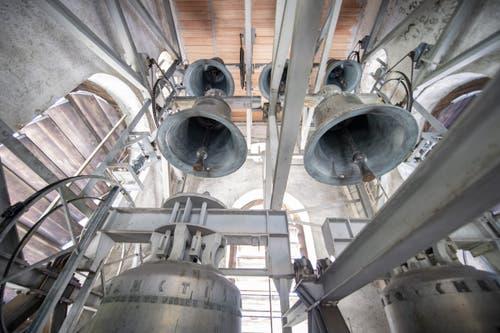 Die Glocken im Glockenturm des Klosters Engelberg. (Bild: Keystone/Urs Flüeler, Engelberg, 17. Juli 2019)