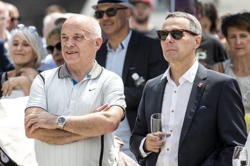 Ueli Maurer und Ignazio Cassis. (Bild: Alexandra Wey/Keystone, Schwyz, 4. Juli 2019)