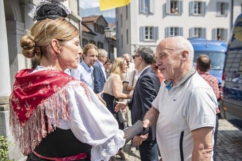 Ueli Maurer vor dem Regierungsgebäude in Altdorf. (Bild: Urs Flüeler/Keystone, Altdorf, 4 Juli 2019)