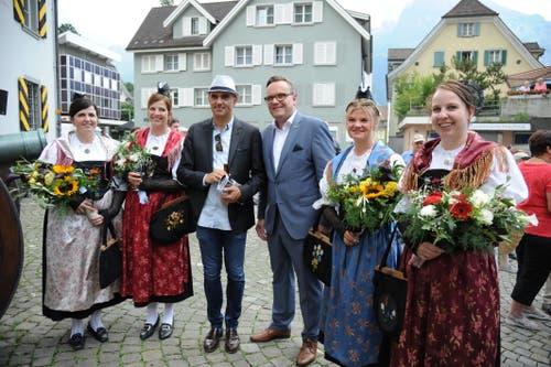 Bundesrat Alain Berset und Landammann Roger Nager. (Bild: Urs Hanhart, 4. Juli 2019)