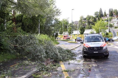 Ein Polizeiwagen vor dem Verkehrshaus Luzern. (Bild: Philipp Schmidli, Luzern, 6. Juli 2019)