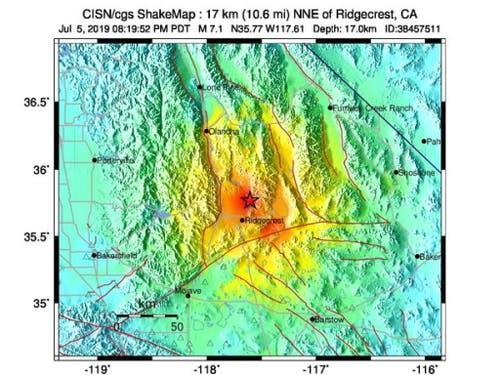 Ein Handout-Foto der US-Erdbebenwarte zeigt das Epizentrum des starken Erdbebens in Südkalifornien (Bild: KEYSTONE/EPA USGS/USGS HANDOUT)