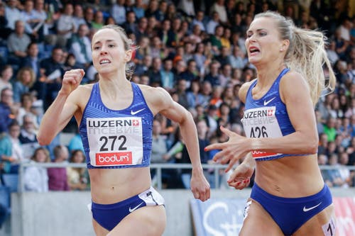 Die Schweizerin Selina Büchel im Duell mit Liga Velvere aus Lettland. (Bild: Marc Schumacher/freshfocus, Luzern, 9. Juli 2019)