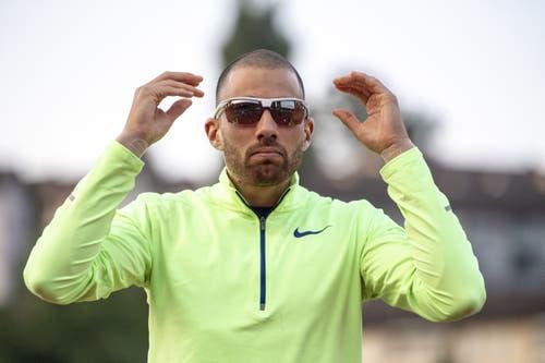 Kariem Hussein ist bereit für sein 400-Meter-Hürdenrenne. (Bild: Urs Flüeler/Keystone, Luzern, 9. Juli 2019)