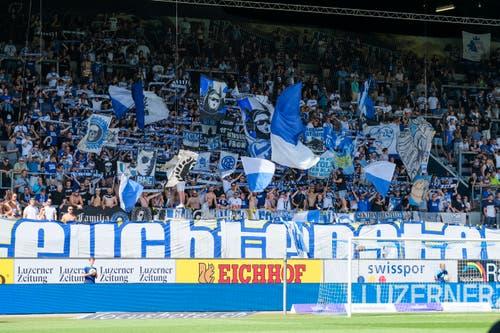 Die Fans stehen bedingungslos hinter ihrem FCL. (Bild: Martin Meienberger/freshfocus, Luzern, 11. August 2019)