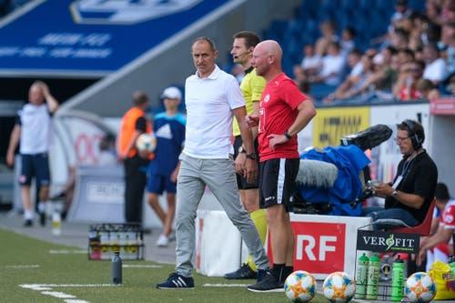FCL-Trainer Thomas Häberli (links) und Assistenztrainer Manuel Klökler. (Bild: Martin Meienberger/freshfocus, Luzern, 11. August 2019)