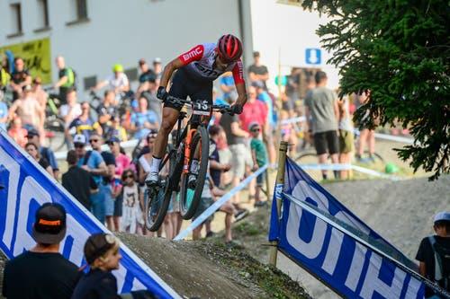 Reto Indergand im Short-Track-Rennen. (Bild: Roland Jauch, Lenzerheide, 9. August 2019)