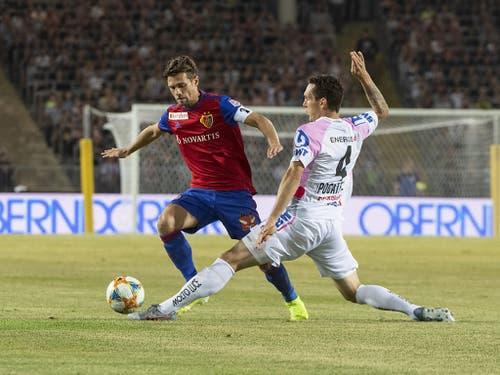 Captain Valentin Stocker bleibt in der Qualifikation zur Champions League mit dem FC Basel am Linzer ASK hängen (Bild: KEYSTONE/APA/APA/EXPA/REINHARD EISENBAUER)