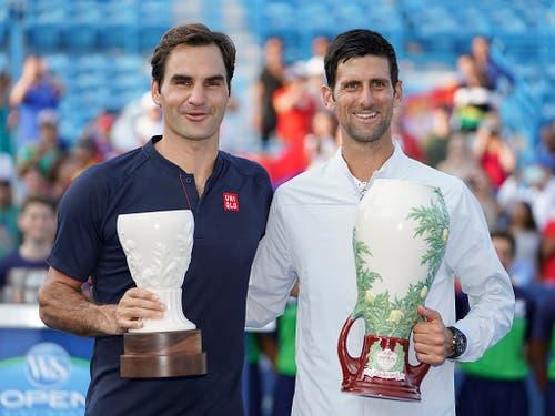 Roger Federer wurde im letzten Jahr beim Turnier in Cincinnati erst im Final von Novak Djokovic gestoppt (Bild: KEYSTONE/AP/JOHN MINCHILLO)