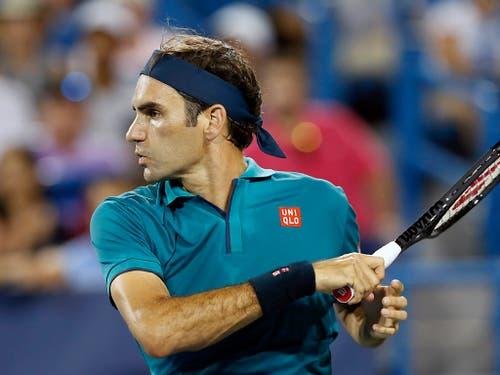 Roger Federer feierte bei seiner Rückkehr auf die Tour einen problemlosen Sieg (Bild: KEYSTONE/AP The Cincinnati Enquirer/SAM GREENE)