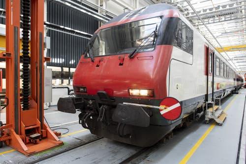Ein Zug steht anlässlich des Medientermins bereit. (Bild: Keystone/Ennio Leanza)