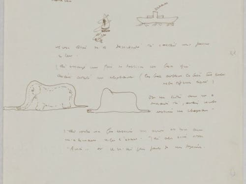 Zu Weltruhm kam die Schlange, die einen Elefanten verschluckt hat, im Buch «Le petit prince». Bevor das Werk 1943 erstmals publiziert wurde, hat der Autor Antoine de Saint-Exupéry Skizzen davon gezeichnet, die nun in Winterthur gefunden wurden. (Bild: Handout SKKG_Le petit prince)